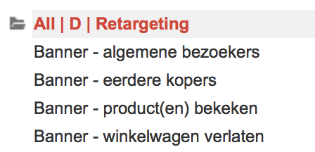 Remarketing advertentiegroepen